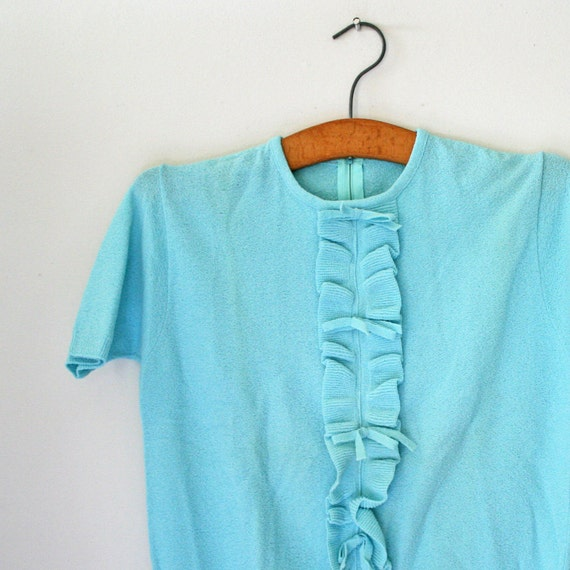 ON HOLD vintage 60s Robins Egg Blue Ruffles and Bows Textured Nylon Ladies Blouse