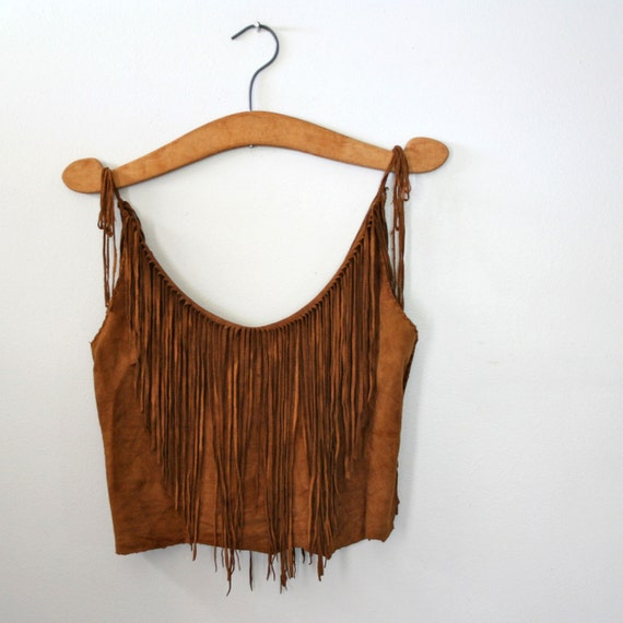 vintage 70s Fringe Suede Leather Ladies Cropped Blouse
