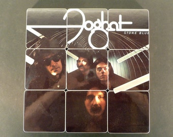 FOGHAT recycled Stone Blue album coasters with record bowl