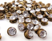 Reserved for mammalammaz Designer Vintage Guess Acrylic Rhinestone Rivets Beads Findings Buttons Costume Embellishements Brass Tone