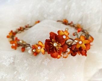 fall flower crown, burnt orange flower crown, fall floral crown, autumn headband, fall headband, fall wedding, orange bridal headpiece