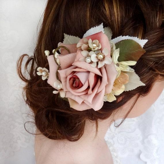 Royal Wedding Accessories Classic Spring Wedding Ideas: Bridal Hair Clip Dusty Pink Flower Hair Accessory Wedding