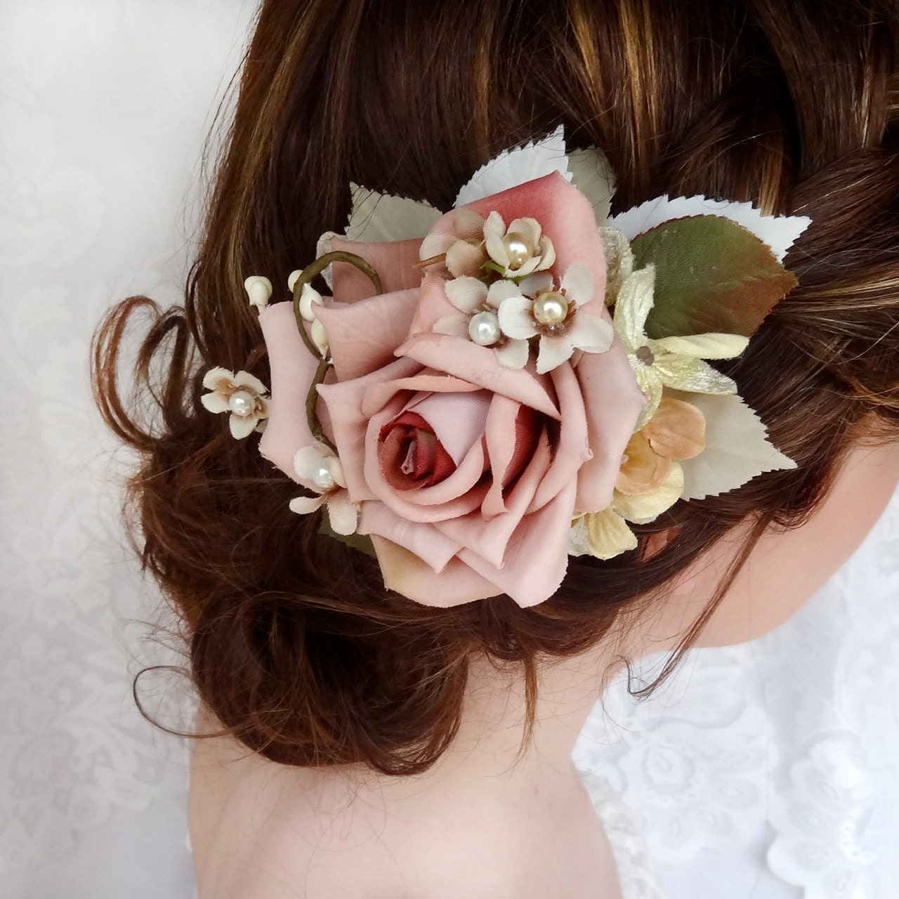 Bridal hair clip dusty pink flower hair accessory wedding for Where to buy wedding accessories