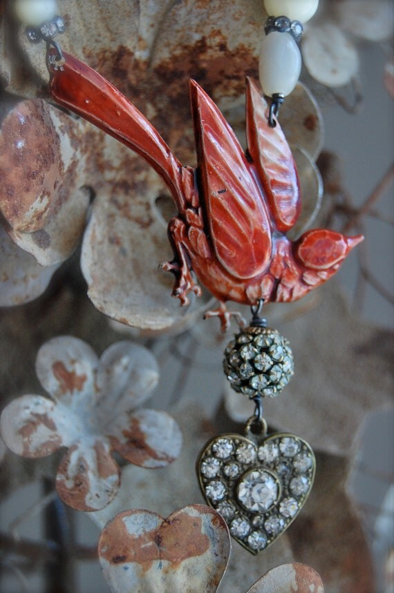 Messenger of Love-antique vintage enamel bird and paste rhinestone heart assemblage necklace