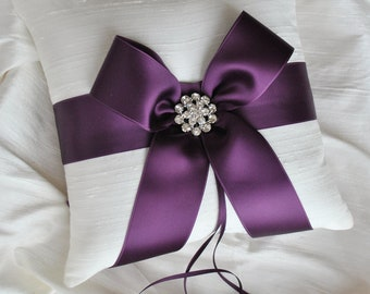 Purple Ring Bearer Pillow - White or Ivory Silk Ring Bearer Pillow with Purple Satin Ribbon