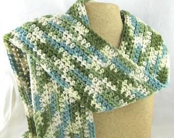 Kid Size Emerald Isle green cream and aqua 100 percent cotton crochet scarf