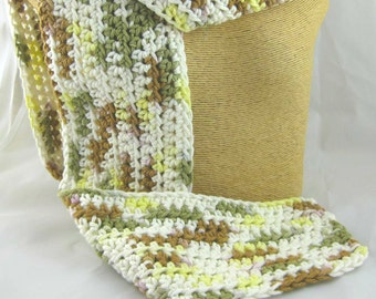 Kid Size Wooded Moss green white and yellow with a touch of brown 100 percent cotton crochet scarf