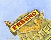 Vintage Neon Sign- Fresno Motel Painting retro neon, Fresno California, oil painting on masonite original