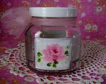 Glass Storage Jar with Lid Hand Painted Cottage Chic Pink Roses Bath Kitchen storage