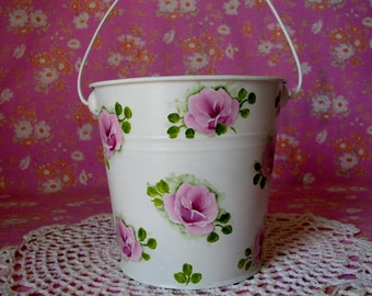 Metal Tin Bucket Pail Hand Painted Pink Roses Cottage Chic Gift Basket Home Storage Decor no. 4