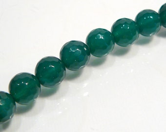 8 Beads...Green Agate Faceted Round Gemstone Beads...8mm...BB