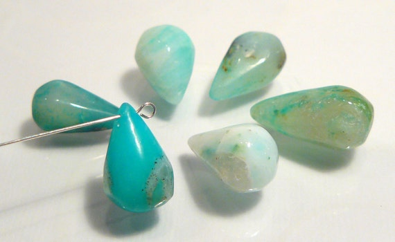 6 Beads.... Peruvian BLue Opal Smooth Puffed Briolette Teardrop Gemstone Beads...12-15mm....BB