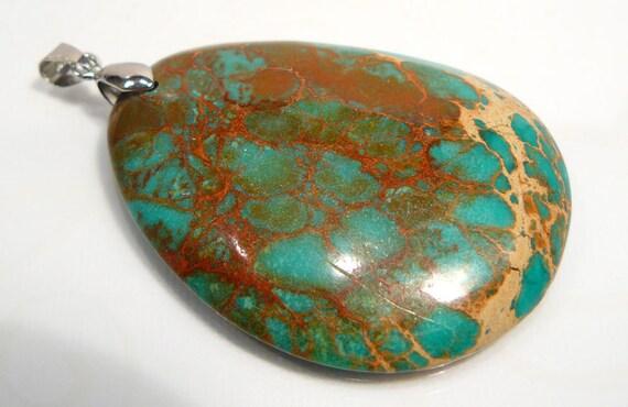 1 Focal Bead... Sea Sediment Jasper Pendant Gemstone Bead....BB