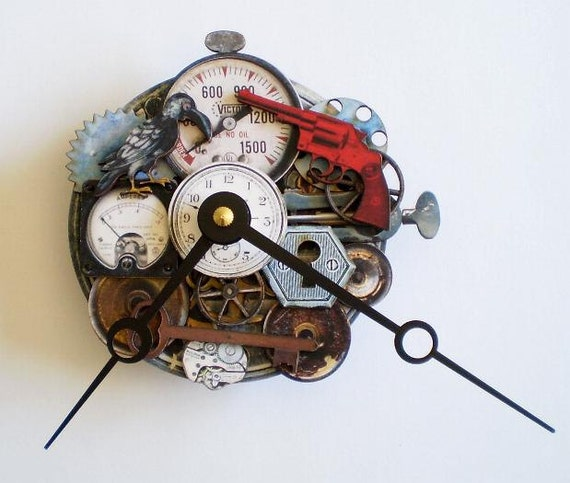 Steampunk Clock featuring Mr Crow and all kinds of gears and gadgets