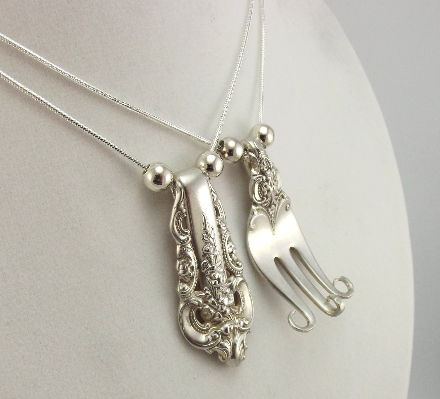 1 sterling fork equals 2 forkin necklaces silverware jewelry