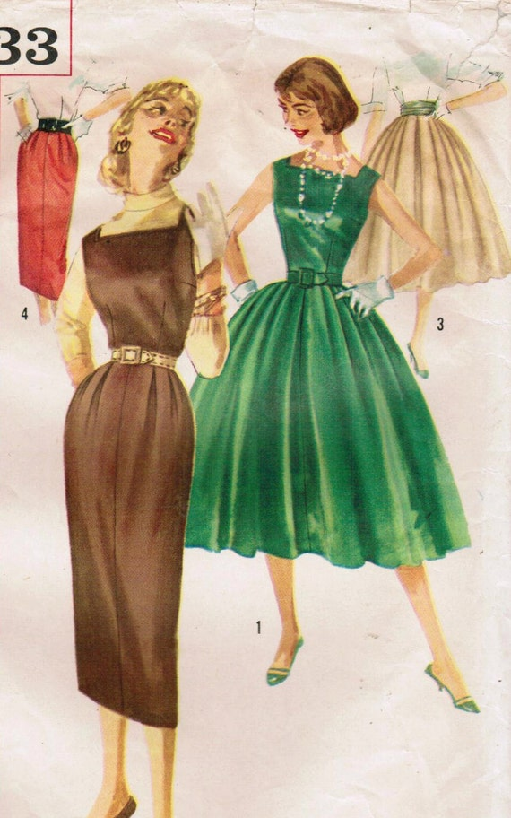 1950s Simplicity 2233 Vintage Sewing Pattern Misses' Dress, Jumper, Skirts, and Cummerbund Size 12 Bust 32