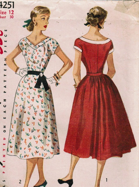 1950s Simplicity 4251 Vintage Sewing Pattern Misses' Dress Size 12 Bust 30