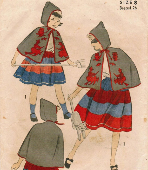 1940s Advance 706 Vintage Sewing Pattern Girl's Witch Costume Size 8