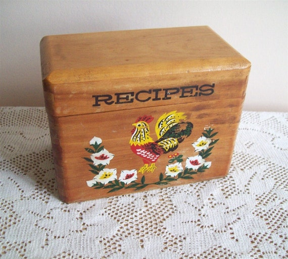 Wood Dovetail Box Holder Kitchen Recipe Box Vintage Rooster Flowers