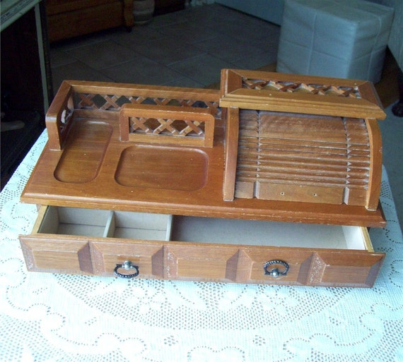 Wooden Dresser Valet Roll Top Jewelry Desk Tray Organizer vintage man