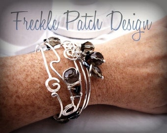 Sterling Cuff Bracelet/  SAMPLE PHOTOO/ In black and grey