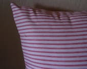 SALE, French Country Ticking throw pillow cover in Waverly red and white stripes, 12 x 18 Lumbar .  Other colors available.        .