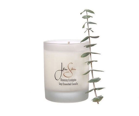 Rosemary and Eucalyptus Natural Soy Candle - Handmade with Essential Oils, eco friendly, Small,  8 oz (227 grams)
