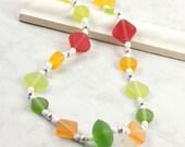 Chartreuse  Green Neon Fashion Lemon Lime Necklace Citrus Tangerine Juicy Orange White Jewelry