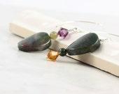 Indian Jasper Earrings / Forest Green Jewelry / Amethyst Crystal / Asymmetrical Earrings / Gemstone Jewelry / Autumn Earrings / Topaz Mocha