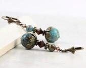 Blue Sky Earrings Mocha Jewelry Brown Boho Earrings Crystal Earrings Blue Jasper Bohemian Jewelry Topaz Brown Boho Mothers Day Jewelry