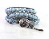 Boho Wrap Bracelet Gray Leather Wrap Leather Jewelry Gray Wrap Bracelet Denim Blue Bracelet Beaded Bracelet Boho Jewelry Bohemian Jewelry