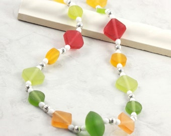 Chartreuse  Green Neon Fashion Lemon Lime Necklace Citrus Tangerine Juicy Orange White Jewelry
