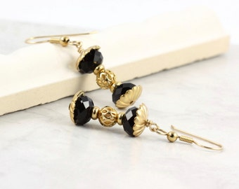 Hourglass Earrings Black Crystal Gold Filigree Barbell Jewelry Gold Filled Ear wires