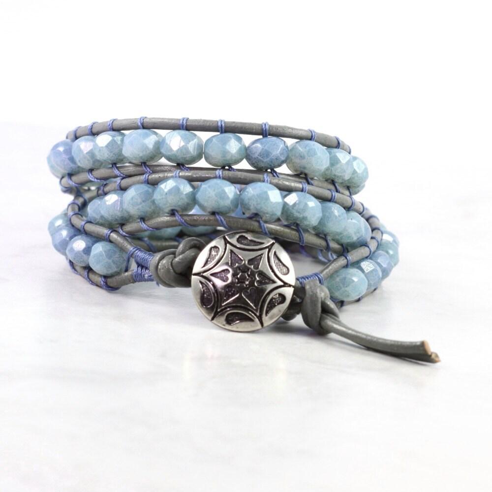 boho wrap bracelet gray leather wrap leather jewelry gray wrap