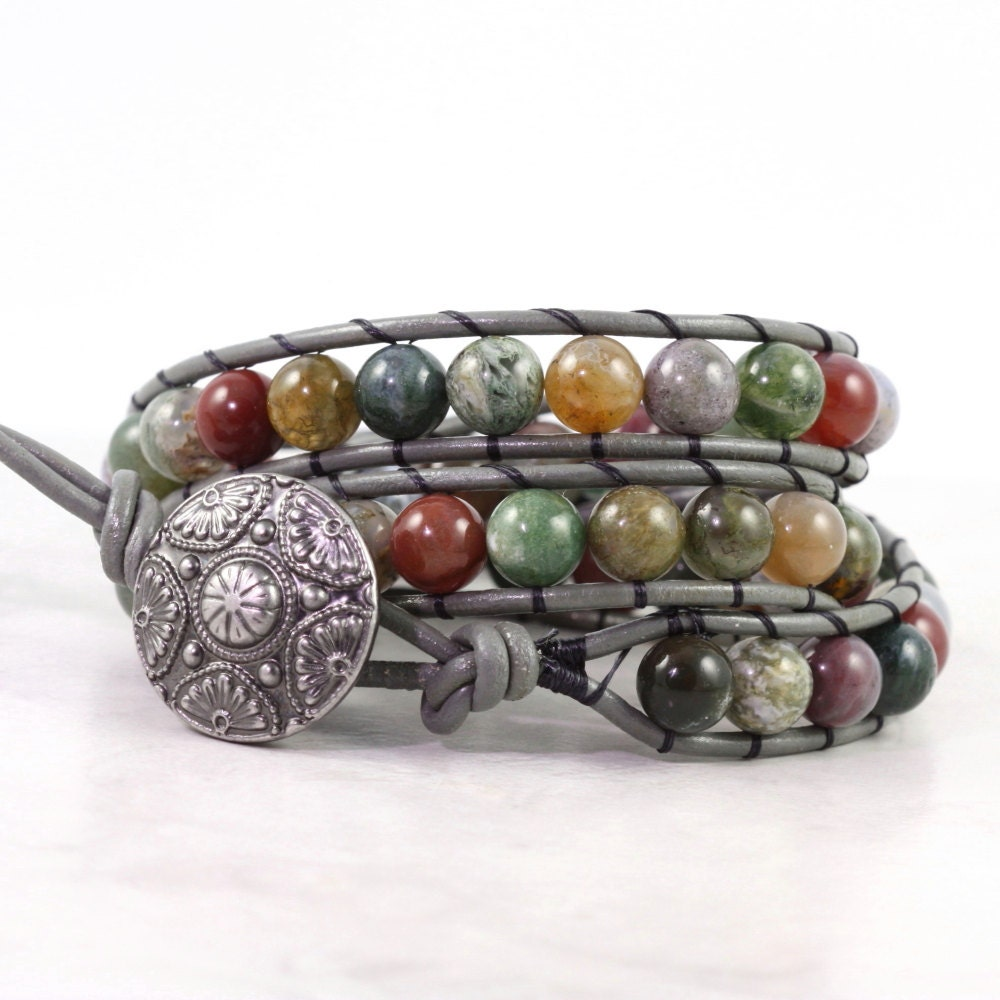 Leather Wrap Bracelet With Charms: Gemstone Bracelet Leather Wrap Bracelet Gray Leather Jewelry