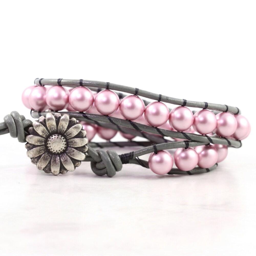 Summer Bracelets: Pink Wrap Bracelet Gray Leather Wrap Bracelet Summer Fashion