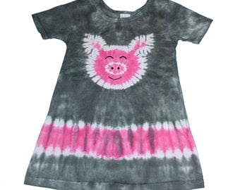 Pig Dress for Girls  Heather Grey with a Hot Pink Pig Tie Dye