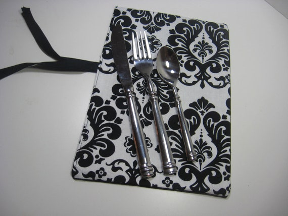 Utensil Cozy - Damask in Black and White