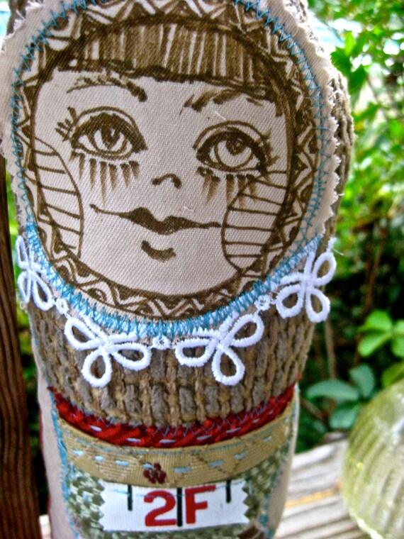 Stuffed fabric doll  handmade woman ooak primitive doll folk art