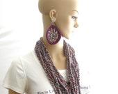 Wen Wear Necklace Scarf & Earrings Set