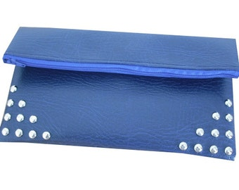 Faux Leather Leatherette Clutch Bag With Silver Tone Circular Studs in Royal Blue - Punk & Kitsch