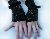 Black Lace Fingerless Gloves  -  Steampunk Accessory -  Holiday Gift Goth Victorian - Custom to Order