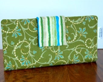 Refreshing Green and Blue Ladies Fabric Wallet