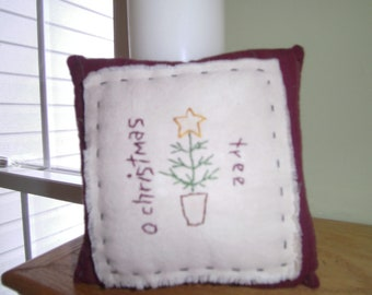 Primitive Hand Embroidered Pillow, Christmas, Saying, Primitive,
