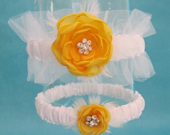 Garter Set - Yellow Rose garter, White Tulle garters - Garter set G027, bridal garter accessory