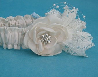 Wedding garter, Ivory, Lace, Bridal Garter, Set G015, weddings accessories