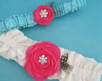 Bridal Garter, Pink and blue wedding garter set G023 - bridal garter accessory