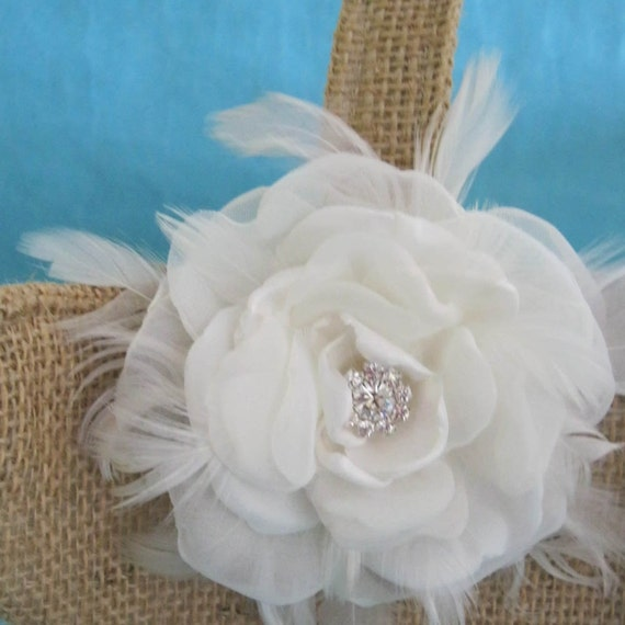 Burlap and Ivory Feather Flower girl basket H251, shabby chic wedding accessory