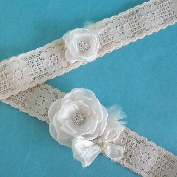 Wedding Garter Champagne lace, Ivory Roses,  bridal garter set E302, garter accessory