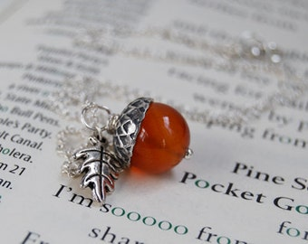 Carnelian and Silver Acorn Necklace | Gemstone Acorn Charm Necklace | Cute Acorn Necklace